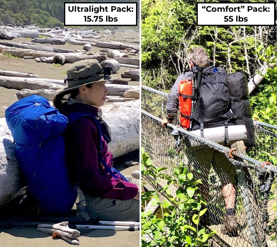 Ultralight Backpacking Pack vs Comfort Camping Backpacking Pack