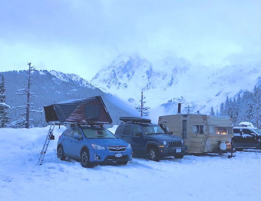 Skycamp set up at the White Salmon Lodge parking lot at Mount Baker for winter camping