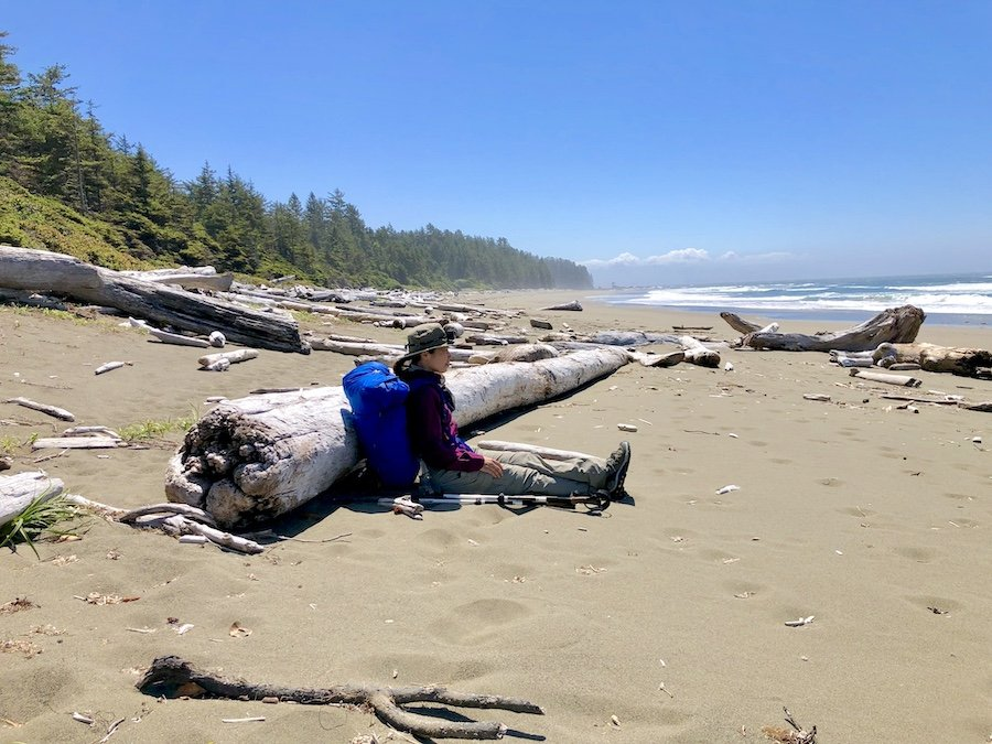 Enjoying complete solitude on the beach on the West Coast Trail
