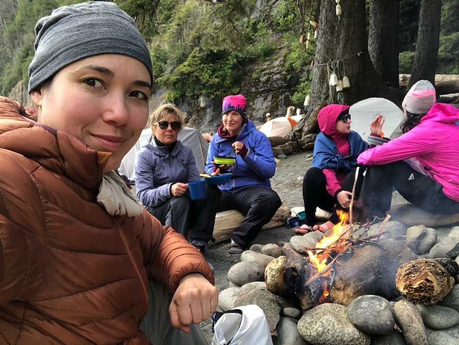 Sharing a campfire with women hikers at Camper Bay, West Coast Trail