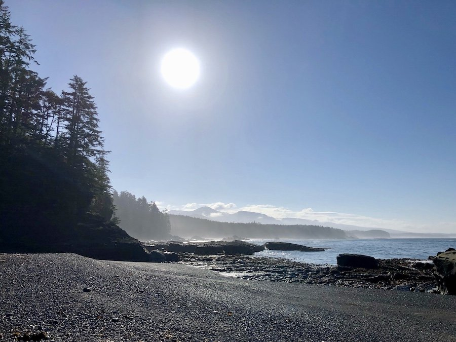 Coastal view while beach hiking near Tsusiat Point on the West Coast Trail