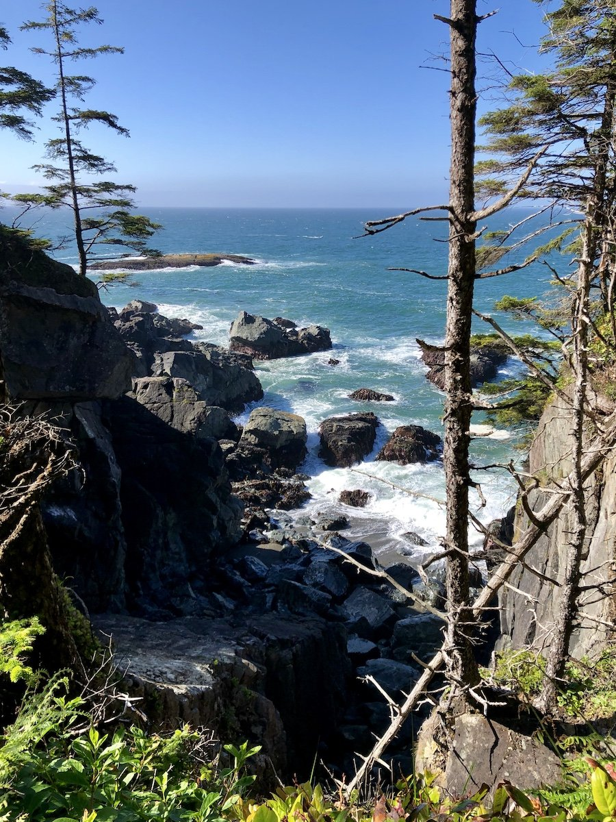 Coastal view on the cliffs between Tsuquadra Point and Nitnaht Narrows on the West Coast Trail