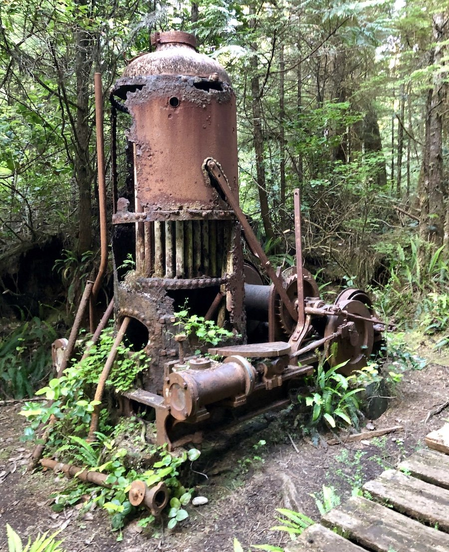 Derelict Donkey Engine at 19km on the West Coast Trail