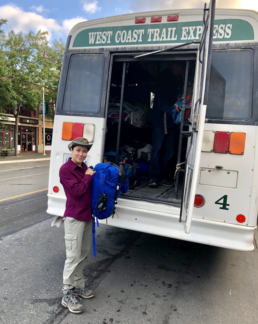Boarding the West Coast Trail Express Trail Bus