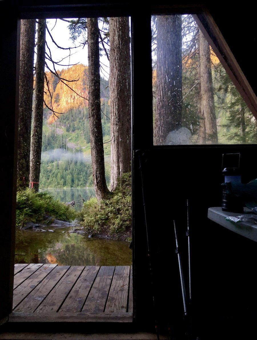 Elsay Lake Emergency Hut View of Dawn from the Cabin