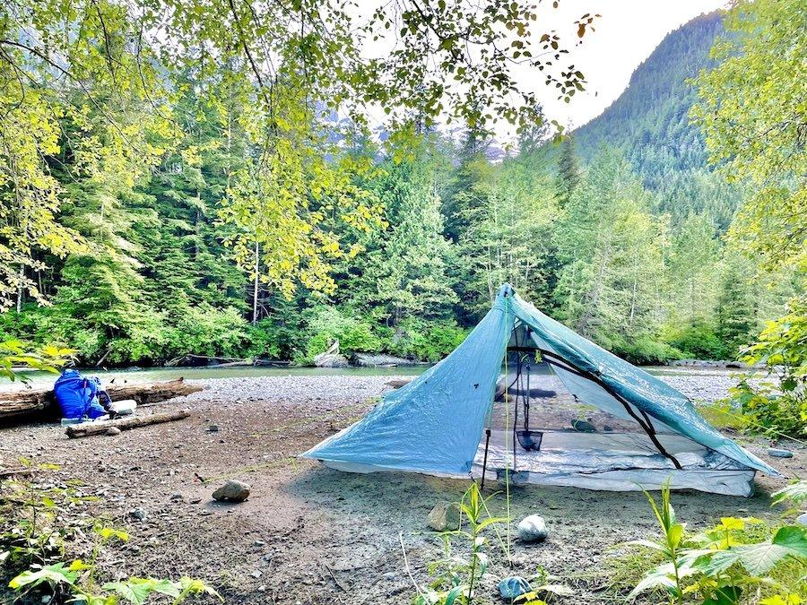Tent campsite on Viewpoint Beach, Golden Ears Provincial Park