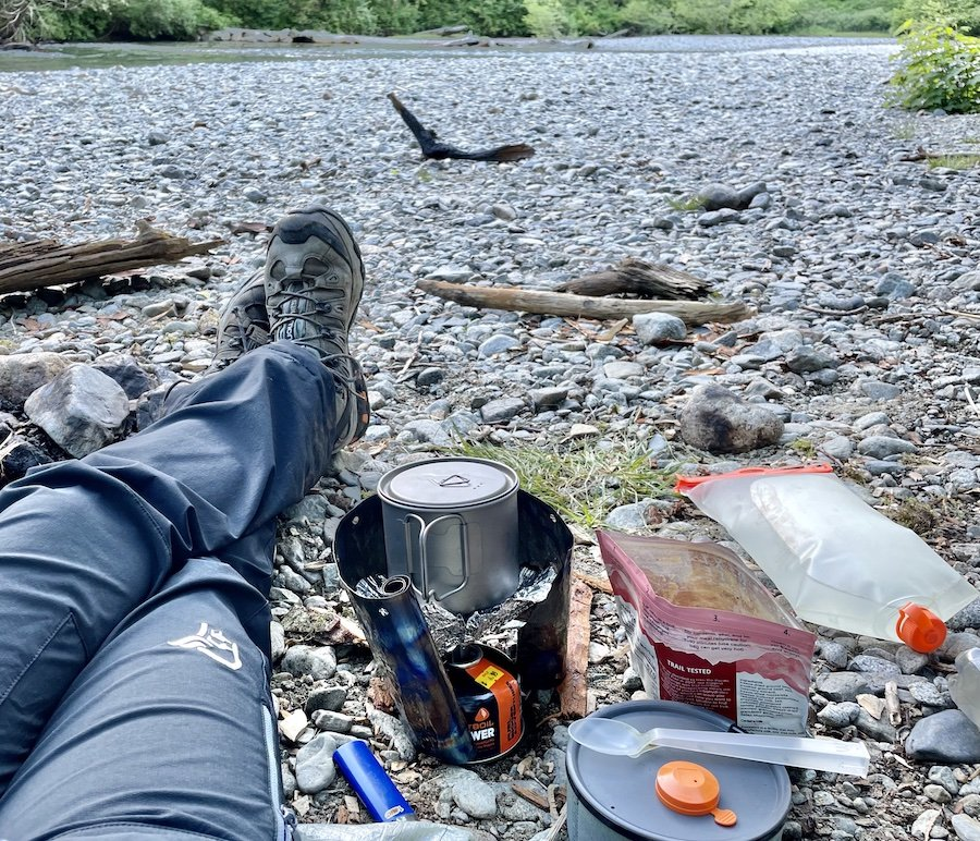 Prepping My Dinner on Viewpoint Beach, Golden Ears Provincial Park