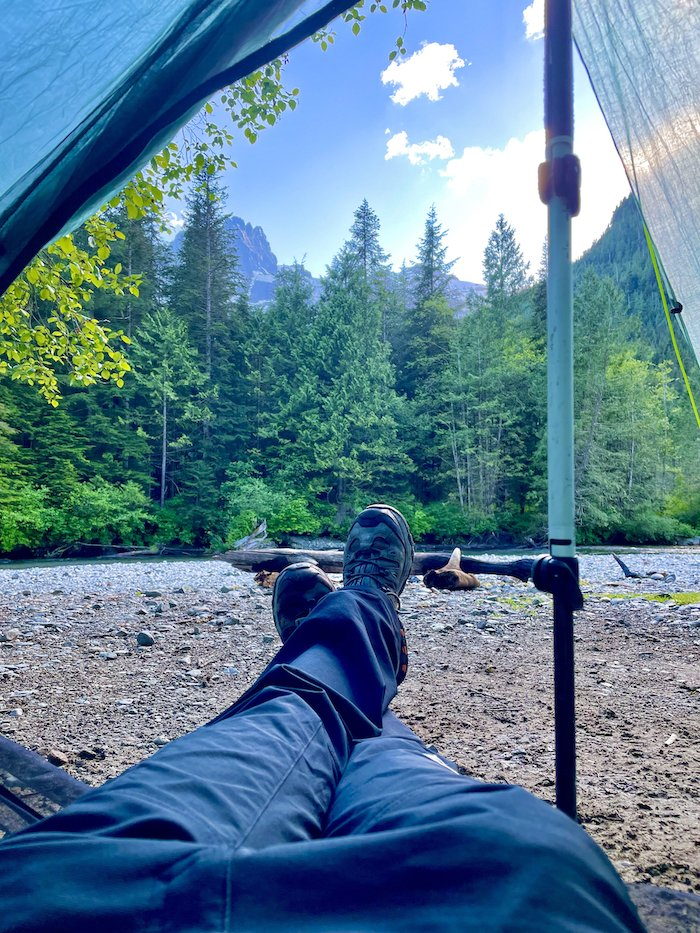 View from Tent on Viewpoint Beach, Golden Ears Provincial Park