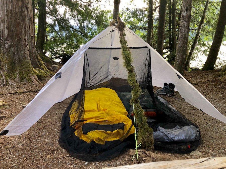 A-Frame Tarp Set-up for 2 People with a 8x8.5 foot Rectangular Tarp