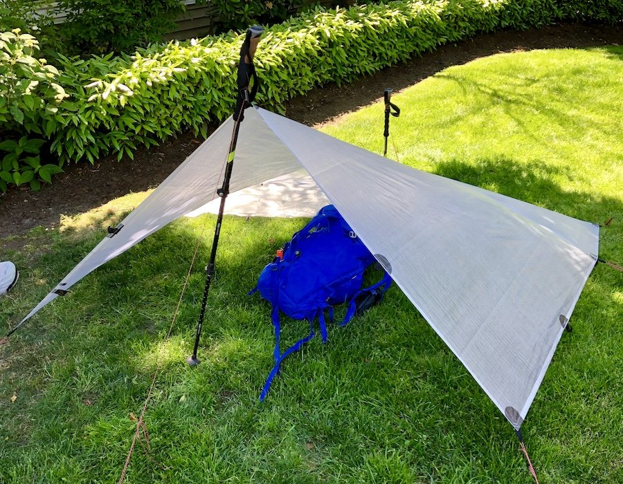 Modified Holden tarp set-up with an 8x8.5 foot tarp front view