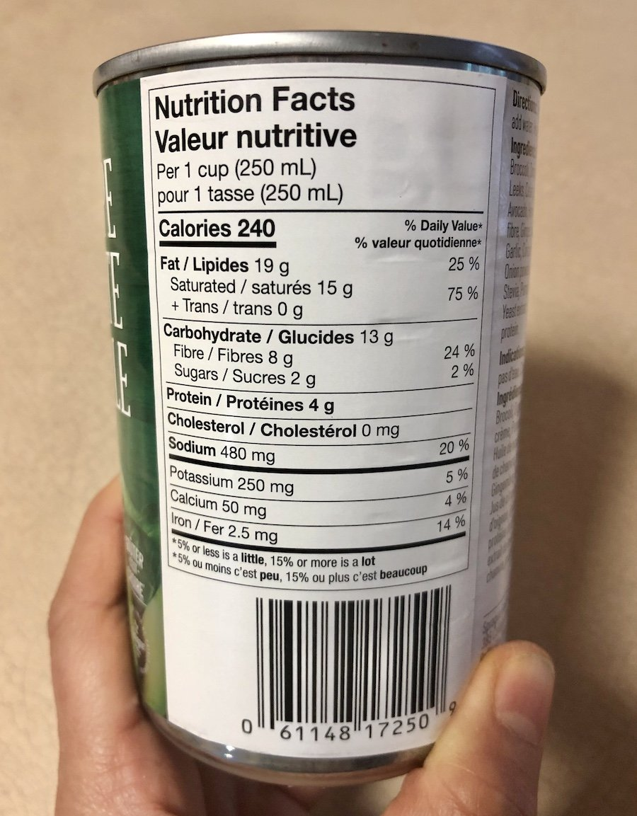 Sprague Keto Simply Greens Canned Soup Nutrition Label