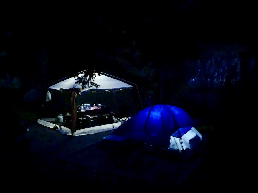 Our campsite at Marble Canyon Provincial Park at night