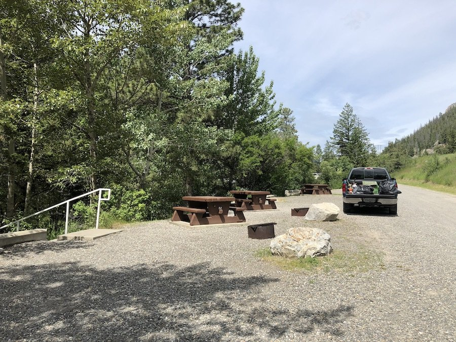The less desirable roadside campsites at Marble Canyon Provincial Park's campground