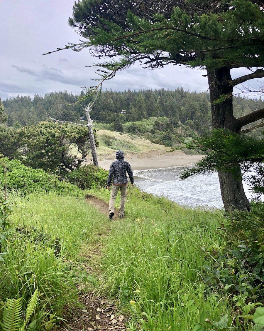 Hiking the trail onBattlerock, Port Orford, Oregon