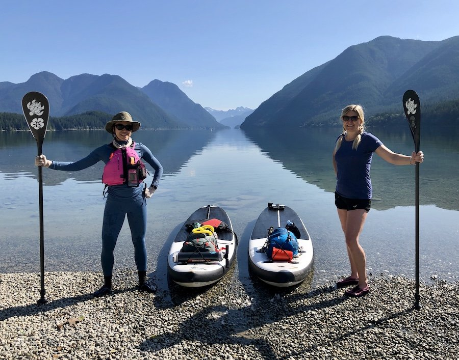 Two Women Who Successfully Completed an Overnight SUP Paddleboard Camping Trip at Alouette Lake Golden Ears Provincial Park