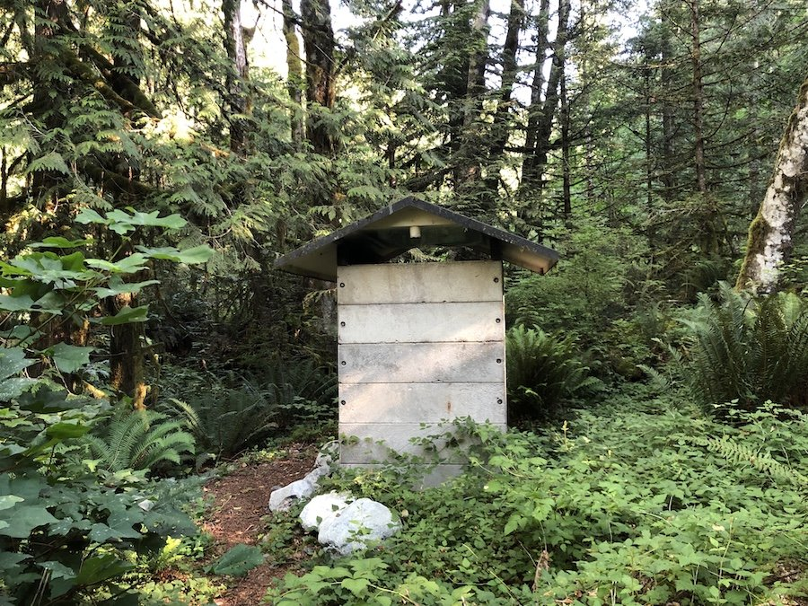 Marine Access Camp Site Outhouse at Moyer Creek at Alouette Lake Golden Ears Provincial Park