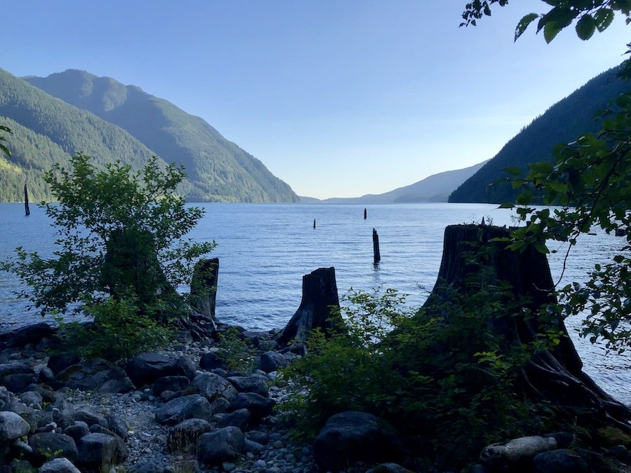 View of Alouette Lake from Moyer Creek Marine Campsite at Golden Ears Provincial Park