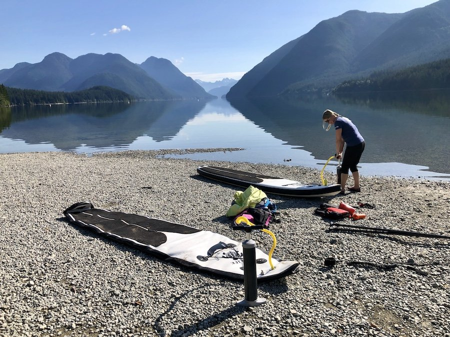 Pumping up the SUP paddleboards at Alouette Lake Golden Ears Provincial Park