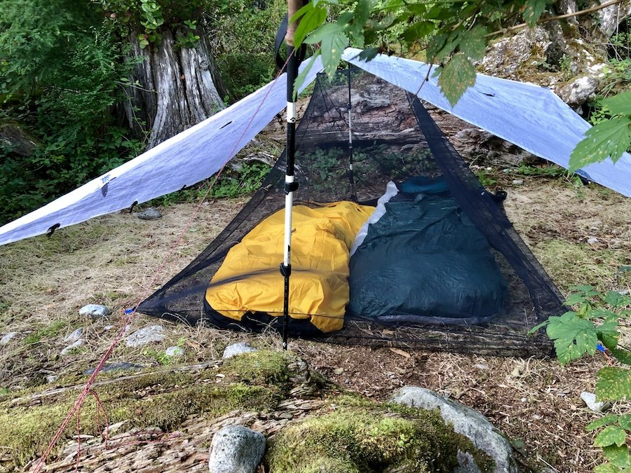 Tarp and Bivy Camping at a Marine Access Camp Site at Moyer Creek at Alouette Lake Golden Ears Provincial Park