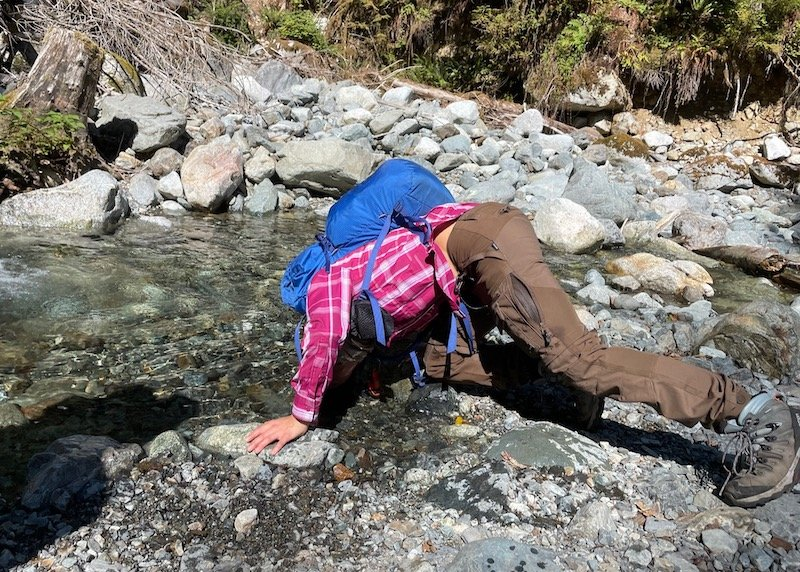 Cooling off in a creek on the Golden Ears Trail