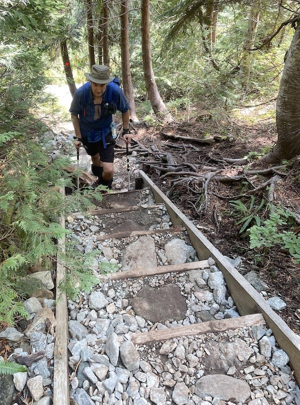 Hiking up the first set of stairs on the Golden Ears Trail