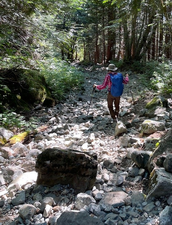 Picking my way down a boulder-strewn section of the Golden Ears trail