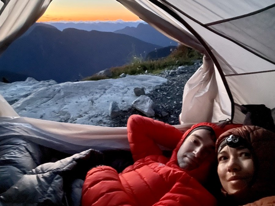 Watching predawn from our tent on Panorama Ridge Golden Ears Provincial Park