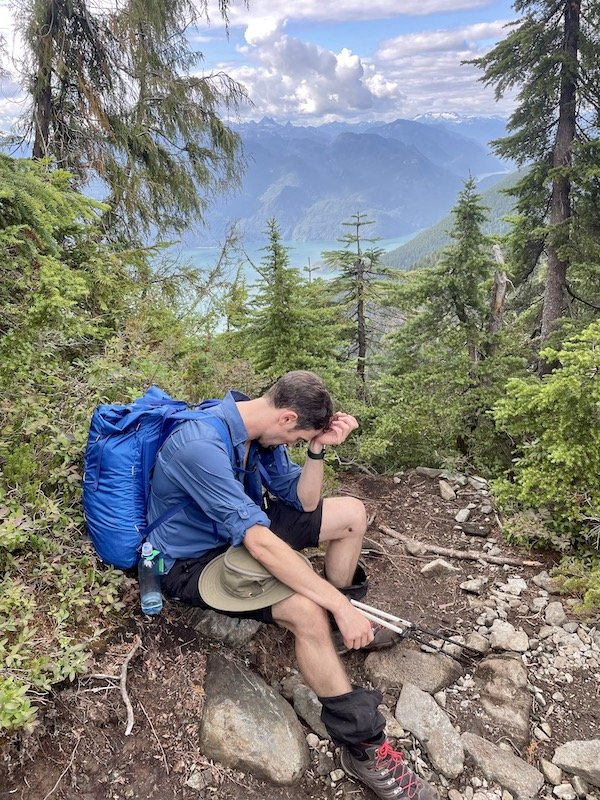 Resting spot with a view of Pitt Lake on the Golden Ears trail