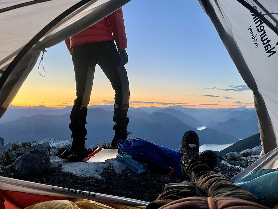 Standing on top of the world at sun set on Panorama Ridge Golden Ears Provincial Park
