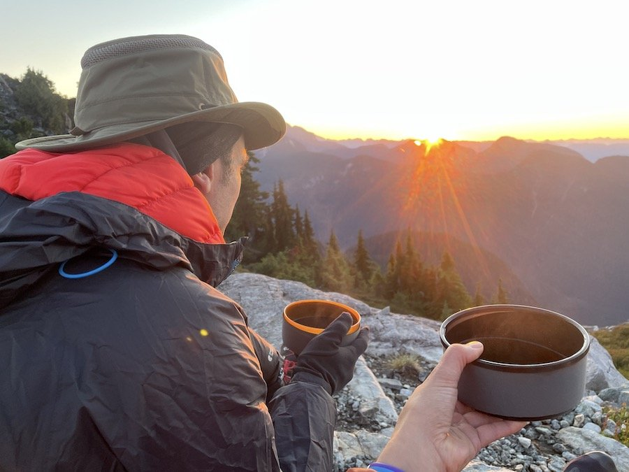 Watching the sun rise with coffee on Panorama Ridge Golden Ears Provincial Park
