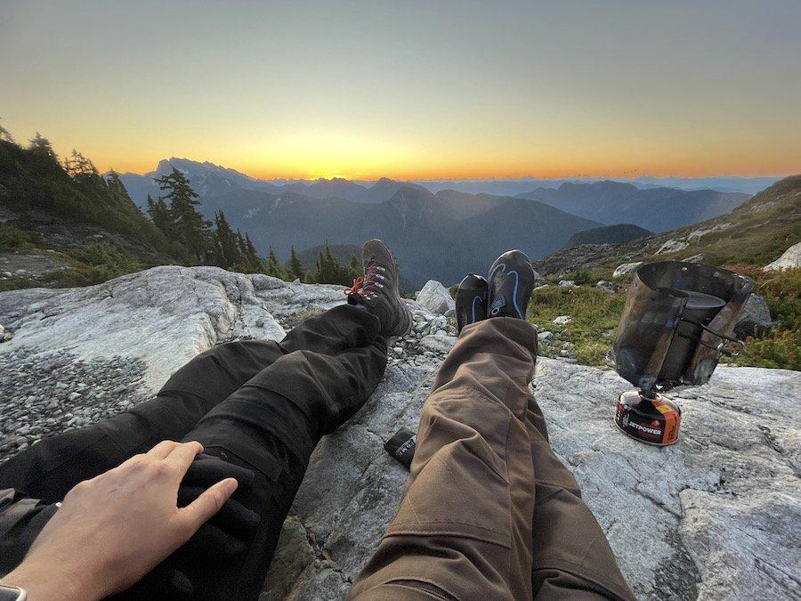 Enjoying sunrise on Panorama Ridge Golden Ears Provincial Park