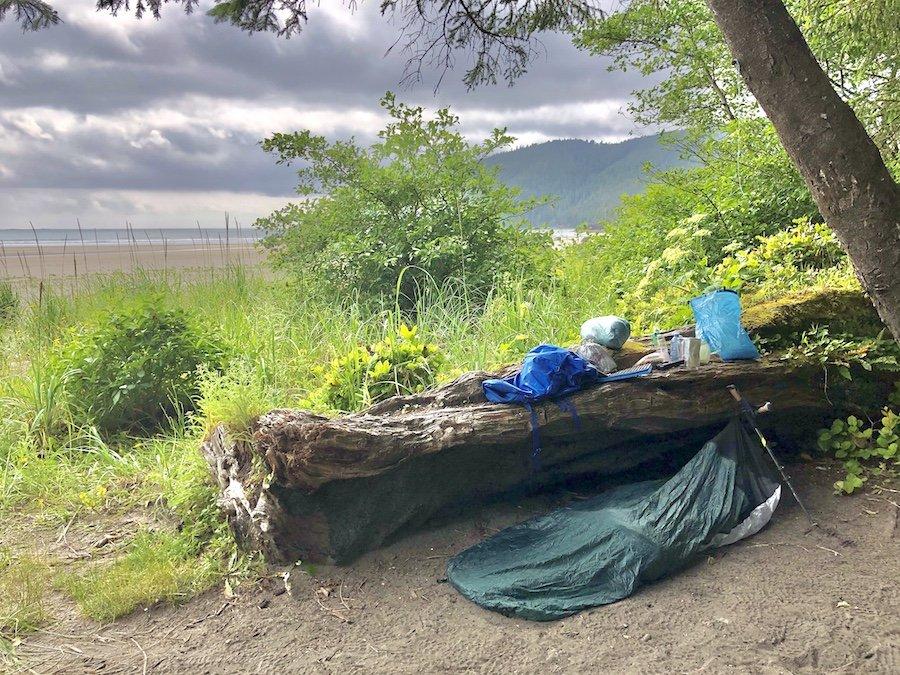 Cowgirl camping set-up at San Josef Bay, Cape Scott Provincial Park