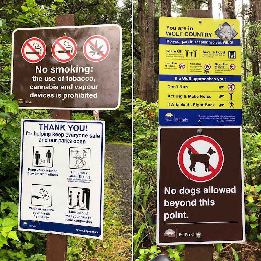 Wolf and COVID-19 warnings at Cape Scott Provincial Park