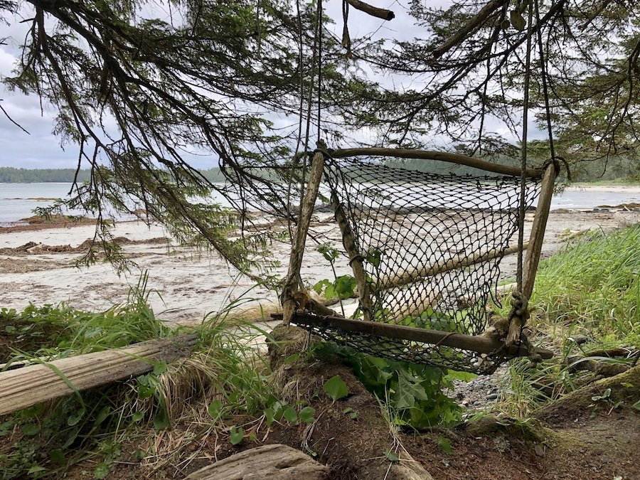 Tree chair made of fishing net and branches at Nel's Bight, Cape Scott Provincial Park
