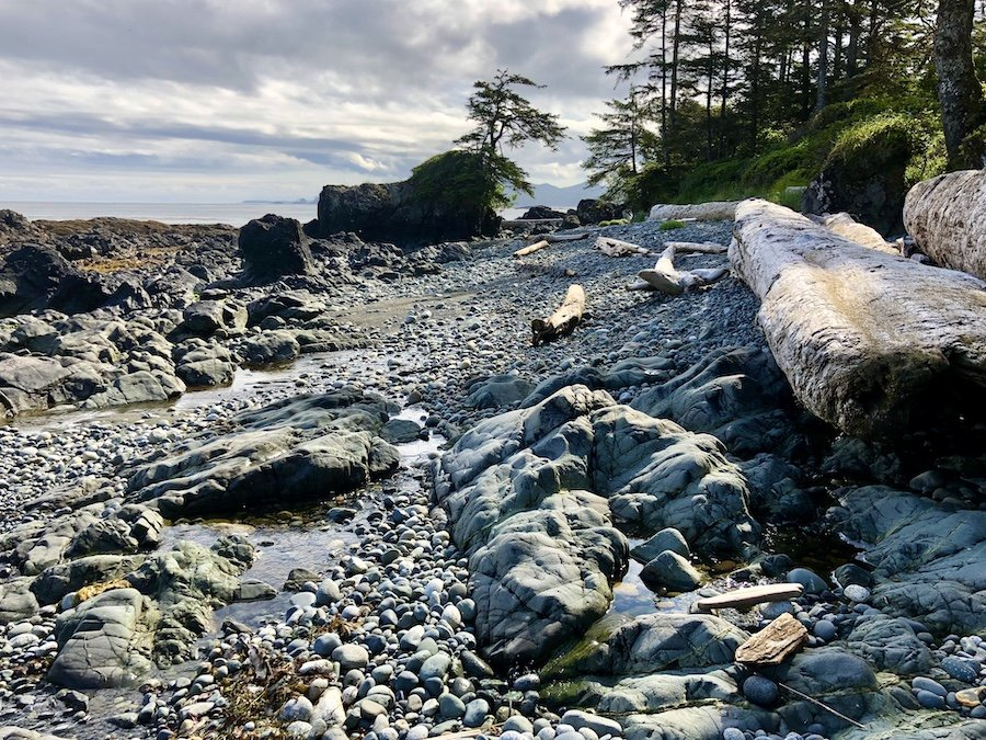 Hiking at low tide, Laura's Creek to Shuttleworth Bight, North Coast Trail