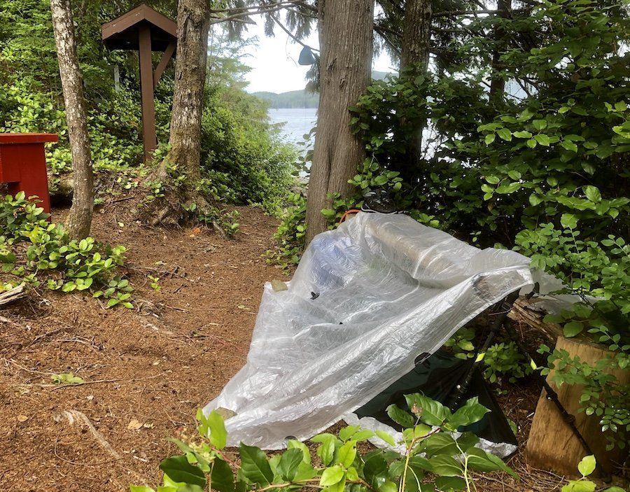 Lazy tarp and bivy set-up, North Coast Trail