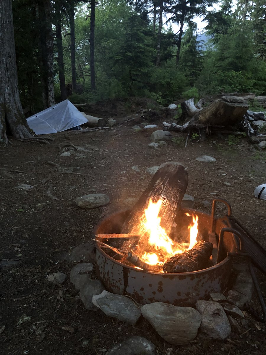 Campfire on the South Baker Lake Trail WA
