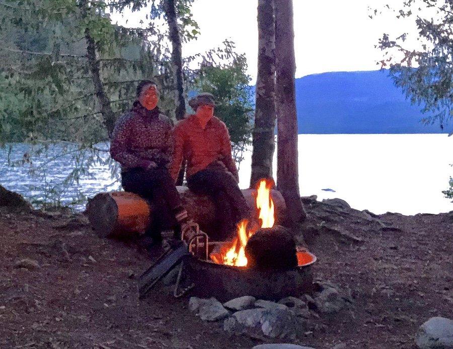 Enjoying a Campfire South Baker Lake Trail WA